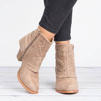Perforated Ankle Boots - Taupe