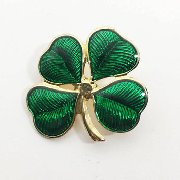 Vintage 1990s Four Clover Leaf Pin, St Patrick's Day Jewelry,  Green Enamel Leaves and Gold Tone Irish Brooch, March Holiday Lapel Pin