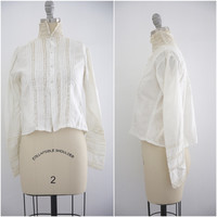 Edwardian Lace Cotton Blouse High Collar