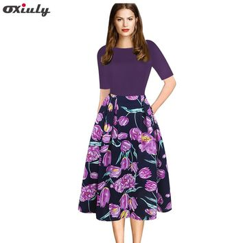 Oxiuly Womens Elegant Purple Floral Print Contrast Patchwork Tunic Vintage Casual Work Party Fit and Flare A-line Skater Dress