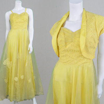 Vintage 50s Ball Gown Yellow Tulle Two Piece Prom Dress Embroidered Dress 1950s Evening Gown Fairytale Dress Butterfly Dress Bolero Jacket