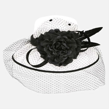 Kentucky Derby Church Wedding Party Black & White Feather Flower Detail Veil Sinamay Hat