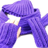 Hand Knit Amethyst Hat Scarf and Mitts