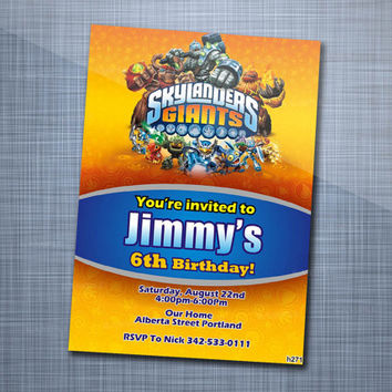 Skylanders Swap Force Giants, Birthday Party, Invitation Card Design