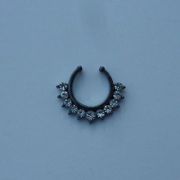 Fake septum ring, fake crystal titanium septum ring, black fake nose ring, fake crystal titanium nose ring, fake nose ring, fake septum ring