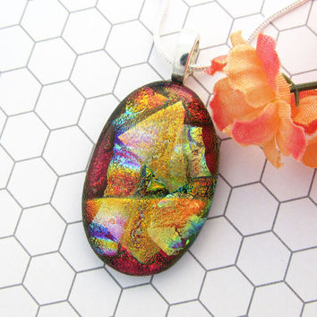 Red and Gold Dichroic Glass Pendant - Fused Glass Jewelry Perfect Gift For Her - 71-15