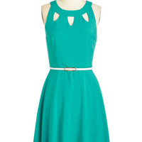 Mid-length Sleeveless A-line Cutout of this World Dress in Aqua