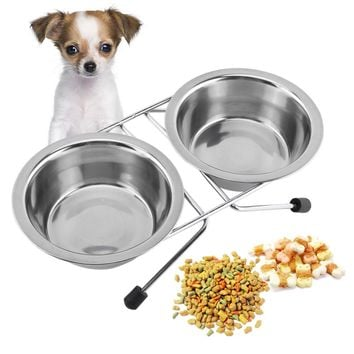 Double Dog Bowls Diner Dish Durable Stainless Steel Dog Bowl Anti Slip Removable Puppy Cat Food Water Pet Feeder
