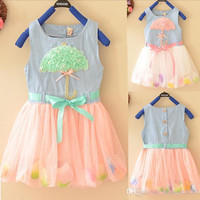 new Cute 3D Umbrella Lace Baby Kid Girls Princess Denim dress Flow Petals Tulle girl's Dresses child's clothes