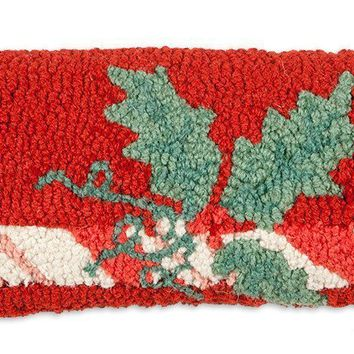 "Candy Cane Lumbar Hooked Wool Pillow 8"" X 24"""