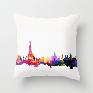 Paris In Watercolor Throw Pillow by Talula Christian