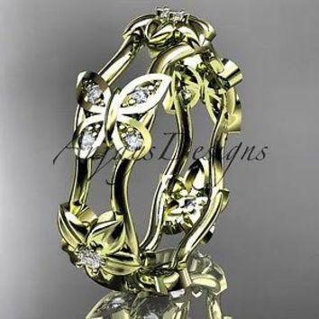 14kt yellow gold diamond floral butterfly wedding band, engagement ring ADLR153