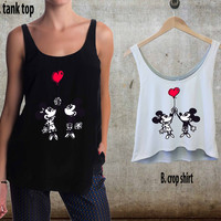 Happy Valentines Day Disney mickey mouse. For Woman Tank Top , Man Tank Top / Crop Shirt, Sexy Shirt,Cropped Shirt,Crop Tshirt Women,Crop Shirt Women S, M, L, XL, 2XL**