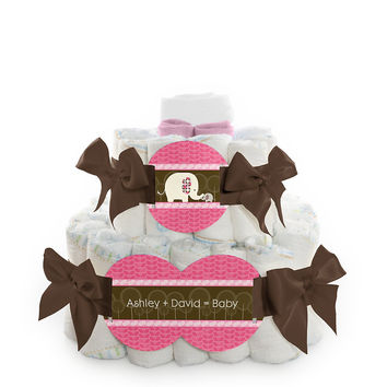 Pink Baby Elephant - Personalized Baby Shower Square Diaper Cakes - 2 Tier