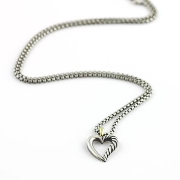 David Yurman Cable Classics Heart Pendant Necklace with Gold in Sterling Silver