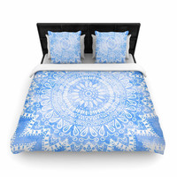 "Nika Martinez ""Boho Flower Mandala in Blue"" Aqua Woven Duvet Cover"