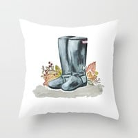 Fall boots  Throw Pillow by Jennifer Rizzo Design Company