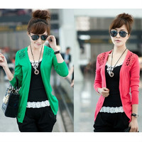 New 2015 Hot Fashion Women Cardigan Sale Lace Sweet Candy Pure Color Slim Crochet Knit Blouse Sweater Cardigan = 1958400388