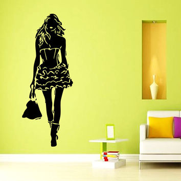Wall Decals Vinyl Decal Sticker Art Mural Decor Girl Fashion Model Design Kj992