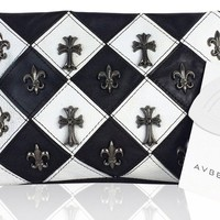 Avber Western Style Cow Leather Cross Studded Shoulder Bag Black and White