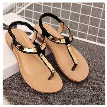 Women Sandals 2018 Summer Sandals Women Shoes Flat Sequined Beautiful Ladies Sandals Black Sandale Femme