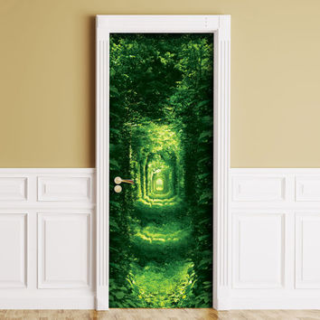 Sticker for Door / Wall / Fridge - Green Tunnel. Peel & Stick Removable Mural, Skin, Cover, Wrap, Decal, Poster