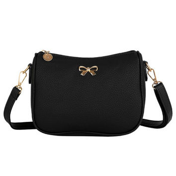 PU Leather Small Bow Crossbody Bag