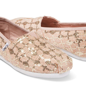 ROSE GOLD SEQUINS WOMEN S CLASSICS from TOMS 48cd6bba7