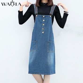 WAQIA Dress Plus Size XL-5XL Women Clothing 2018 Sexy Denim Dresses Women Loose Spaghetti Strap Jeans Long Summer Dresses Womens