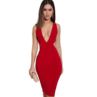 4 color Women Bodycon Dress 2016 Solid Color Knee length Dress Vestidos Summer Deep V Backless Sexy Dress  YXNH80688