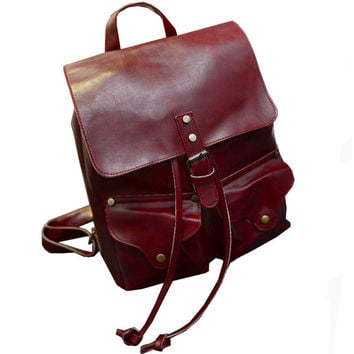 Burgundy Preppy Chic Faux Leather Backpack