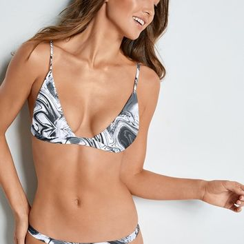 Fixed Triangle Bikini Top in Marble Onyx | VENUS