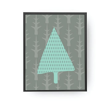 Xmas Tree, Forest Pattern, Kids Print, Kids Education, Classroom Art, Kids Room Decor, Nursery Decor, Children's Learning, Botanical Art