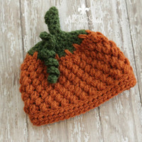 Newborn Pumpkin Crochet Beanie / Hospital Cap / Hat  / Fall / Thanksgiving / Halloween / Autumn /