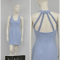 Vintage 80s Nicole Miller Pale Periwinkle Halter Dress, Cage Dress, Chain Dress, Short Party Dress, Fitted Dress, Knee Length Size S