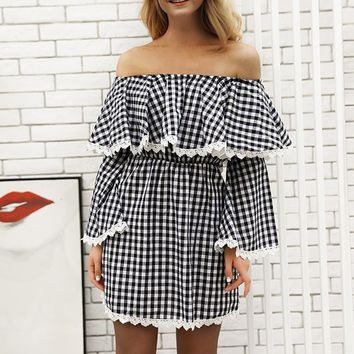 Women Wrapped Long Sleeve Ruffled Backless Sexy Plaid Dress