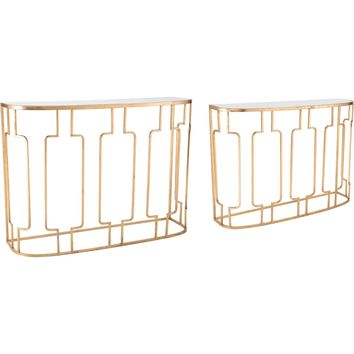 Gold Roma Console Tables (Set of 2)