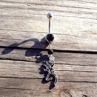 Browning Deer Head Black Belly Ring Body Jewelry