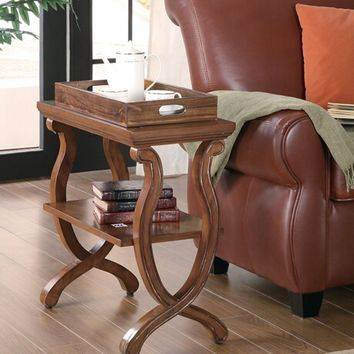 Contemporary styling warm brown finish wood frame chair side end table with lower shelf and storage tray top