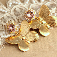 Blush vintage pink Gold Butterfly chandeliers, statement swarovski rhinestone earrings,18 gold plated fashion dangle Designer Earrings