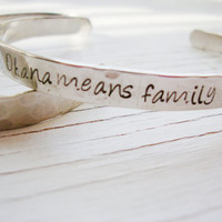 Ohana means family hand stamped inside and out silver bracelet