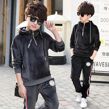 Spring Children Clothing Sets Kids Solid Sports Hoodies Casual Pants Boy Girl Fashion Tracksuits Cotton