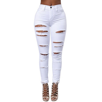 Straight Ripped Jeans For Women Vintage Fashion Women Jeans Autumn Skinny High Waist Jeans Stylish Women Plus Size Jeans Femme