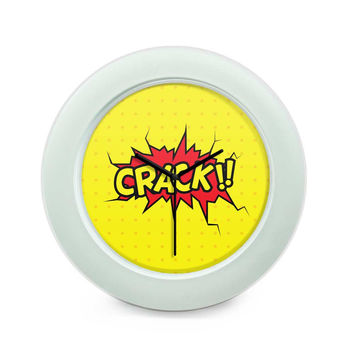 Crack Comic Sound Quirky Illustration Table Clock