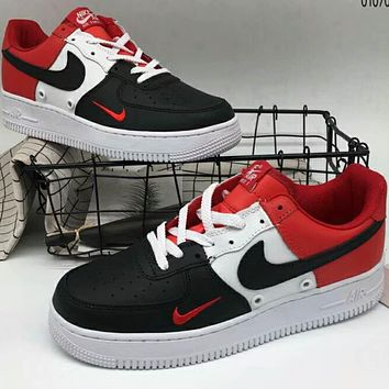 NIKE AIR Air Force 1 Leather Fashion Casual Shoes F-A36H-MY Blac 7440891f5a37