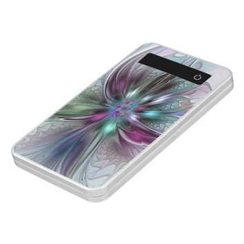 Colorful Fantasy, abstract and modern Fractal Art Power Bank