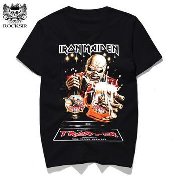Iron Maiden Skull Print Tshirt Heavy Metal Rock Hip Hop Punk Swag Hipster Tee Shirt