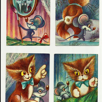 Kittens - Mouse, Russian Vintage Postcards Drawing Kids, Set of 15 cards print 1987