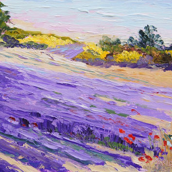 "Original Oil painting, Impressionist Provence Landscape, Lavender and Yellow Palette Knife Oil painting -  ca. 7x10"" small format art"