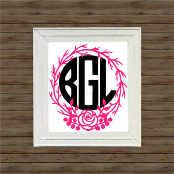 BERRIES and BRANCHES MONOGRAM vinyl decal * wall decal * monogram on canvas * block script monogram * vine script monogram * names * initial